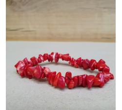 Korál červený sekaný náramek