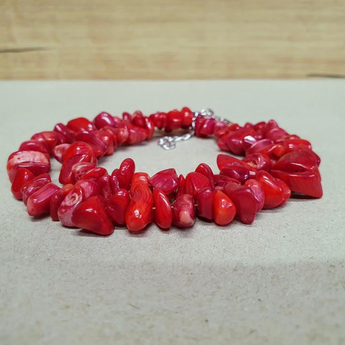 Korál červený sekaný náhrdelník