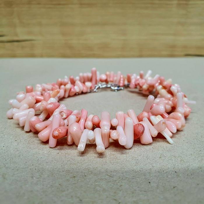 Korál větvičkový růžový sekaný náhrdelník
