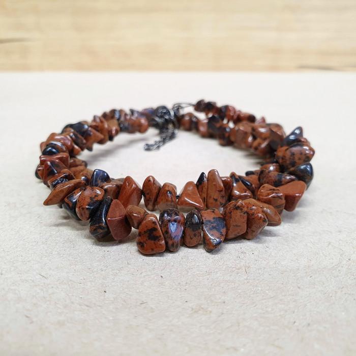 Obsidián mahagon (moka) sekaný náhrdelník