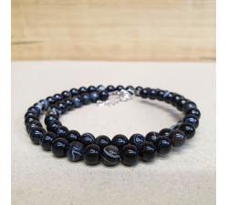Achát černý barvený 6mm kuličkový náhrdelník