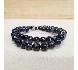 Achát černý barvený 8mm kuličkový náhrdelník