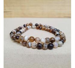 Achát hnědý barvený 6mm kuličkový náhrdelník