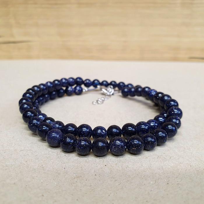 Avanturín modrý 6mm kuličkový náhrdelník