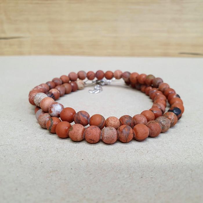 Jaspis červený matný 6mm kuličkový náhrdelník