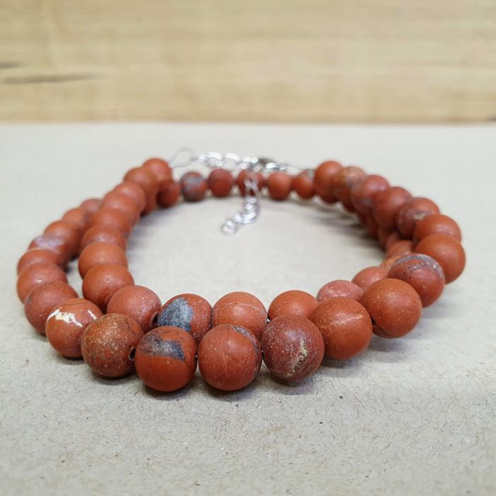 Jaspis červený matný 8mm kuličkový náhrdelník