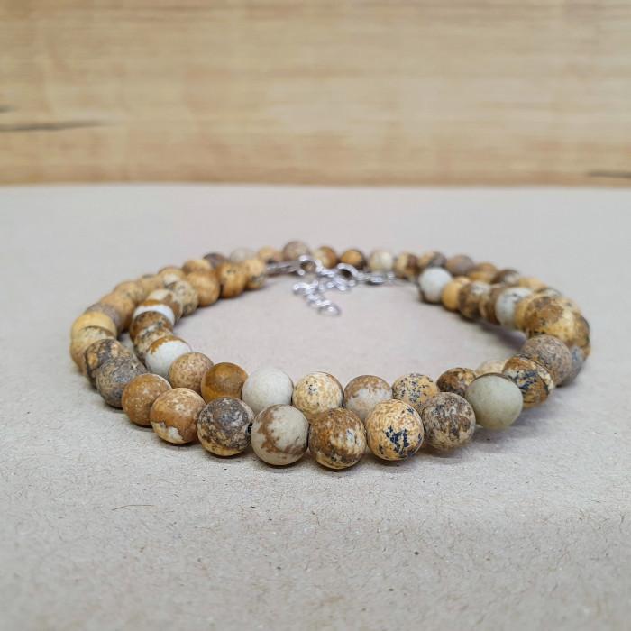 Jaspis pískový 6mm kuličkový náhrdelník