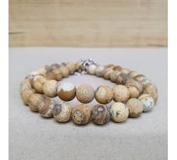 Jaspis pískový 8mm kuličkový náhrdelník