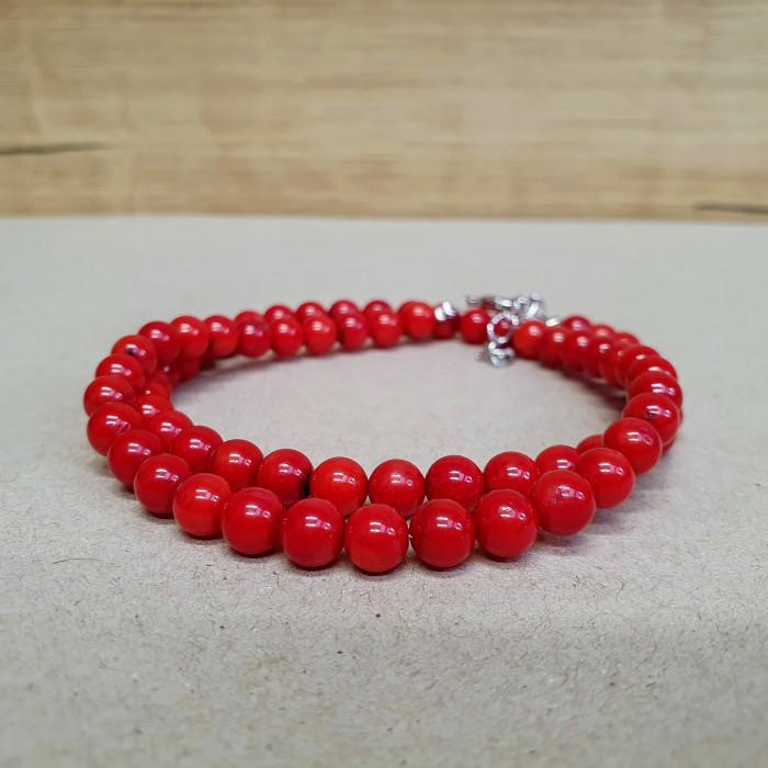 Korál větvičkový červený 6mm kuličkový náhrdelník