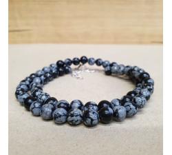 Obsidián vločkový 6mm kuličkový náhrdelník