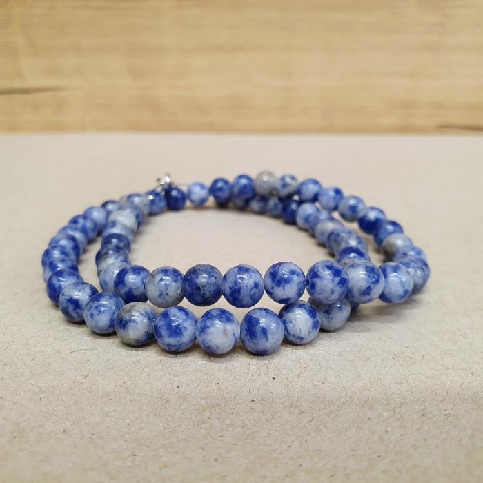 Sodalit granit 6mm kuličkový náhrdelník