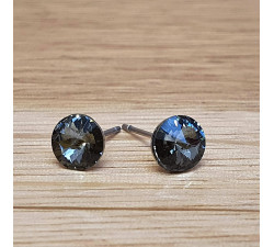 Náušnice puzeta SW - Black diamond 6mm